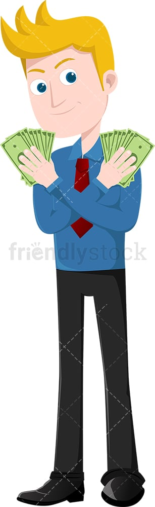 Man holding fistful of bills in each hand. PNG - JPG and vector EPS file formats (infinitely scalable). Image isolated on transparent background.