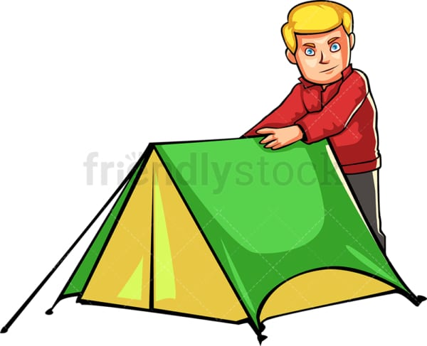 Man preparing tent while camping outdoors. PNG - JPG and vector EPS file formats (infinitely scalable). Image isolated on transparent background.