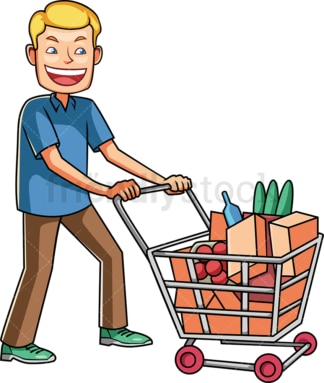 Man pushing shopping cart with groceries. PNG - JPG and vector EPS file formats (infinitely scalable). Image isolated on transparent background.