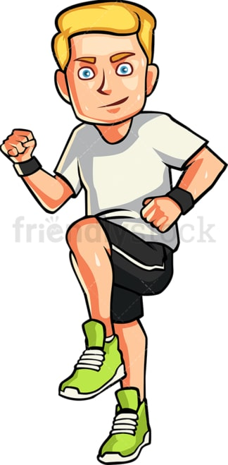 Man running in place. PNG - JPG and vector EPS file formats (infinitely scalable). Image isolated on transparent background.