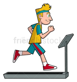Man running on treadmill. PNG - JPG and vector EPS file formats (infinitely scalable). Image isolated on transparent background.