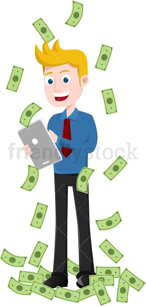 Man using tablet while money rain down all around. PNG - JPG and vector EPS file formats (infinitely scalable). Image isolated on transparent background.