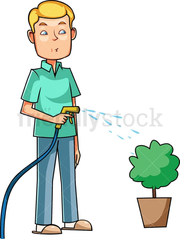 Man watering plant in a pot. PNG - JPG and vector EPS file formats (infinitely scalable). Image isolated on transparent background.