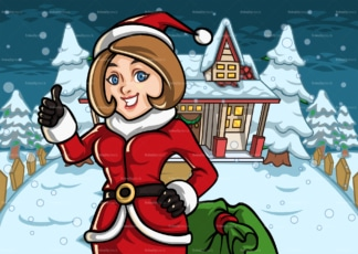 Mom dressed as santa outside a snowed house. PNG - JPG and vector EPS file formats (infinitely scalable). Image isolated on transparent background.
