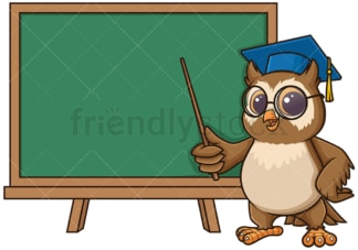 Owl teacher pointing to school board. PNG - JPG and vector EPS (infinitely scalable).