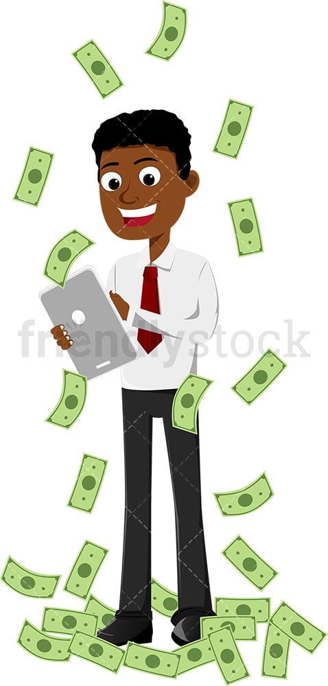 Rich black man smiling and tapping tablet screen. PNG - JPG and vector EPS file formats (infinitely scalable). Image isolated on transparent background.