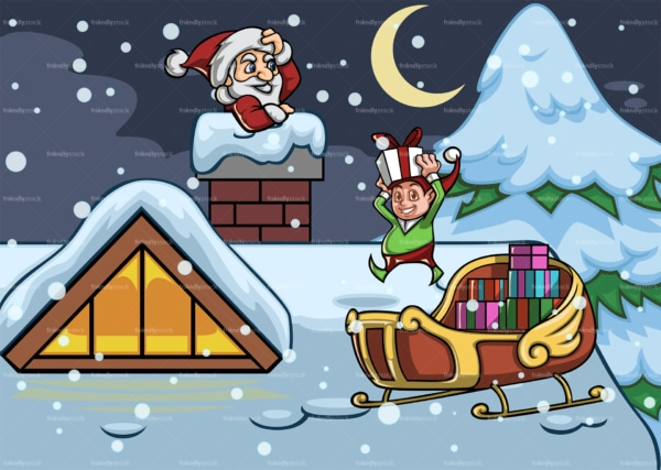 Santa claus and elf atop snowed roof. PNG - JPG and vector EPS file formats (infinitely scalable). Image isolated on transparent background.