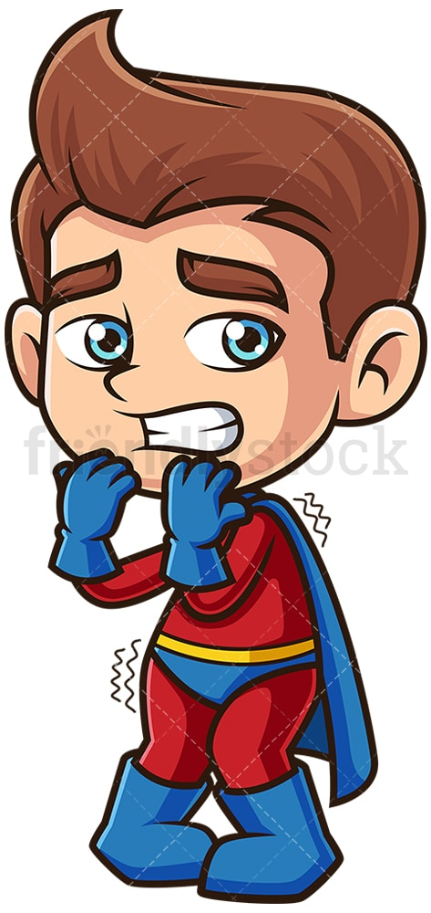 Scared superhero kid. PNG - JPG and vector EPS (infinitely scalable).