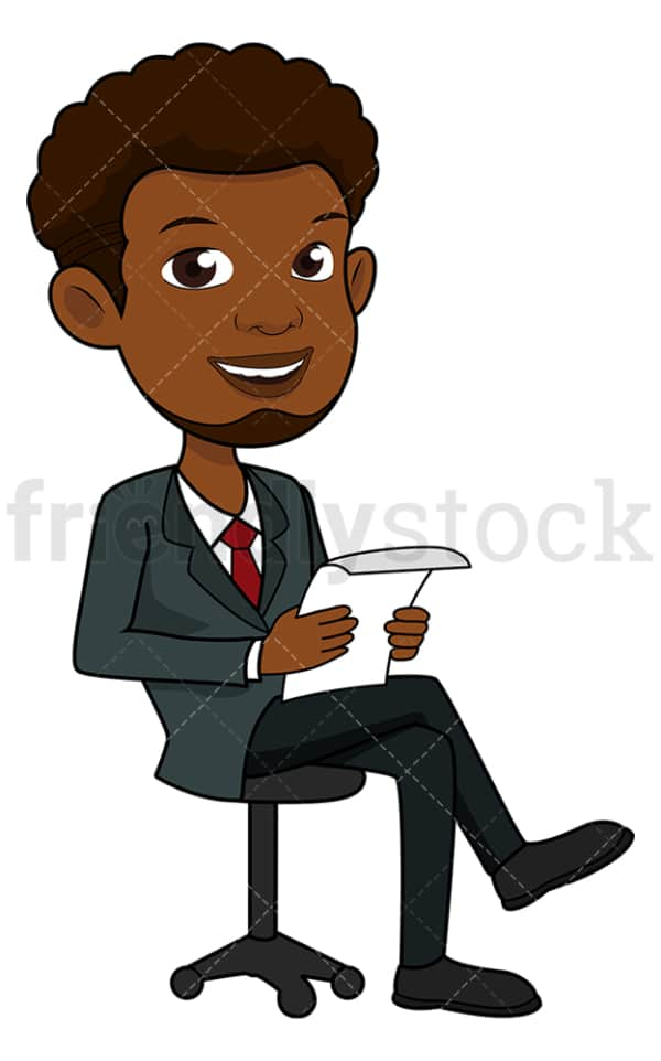 Seated black businessman reading a report. PNG - JPG and vector EPS file formats (infinitely scalable). Image isolated on transparent background.
