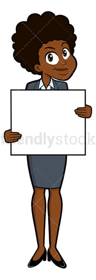 Smiling black businesswoman holding blank sign. PNG - JPG and vector EPS file formats (infinitely scalable). Image isolated on transparent background.