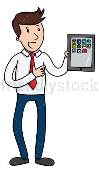 Talking businessman with tablet. PNG - JPG and vector EPS (infinitely scalable).