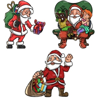 Vintage santa claus cartoon bundle. PNG - JPG and vector EPS file formats (infinitely scalable). Image isolated on transparent background.