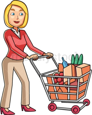Woman doing some grocery shopping. PNG - JPG and vector EPS file formats (infinitely scalable). Image isolated on transparent background.