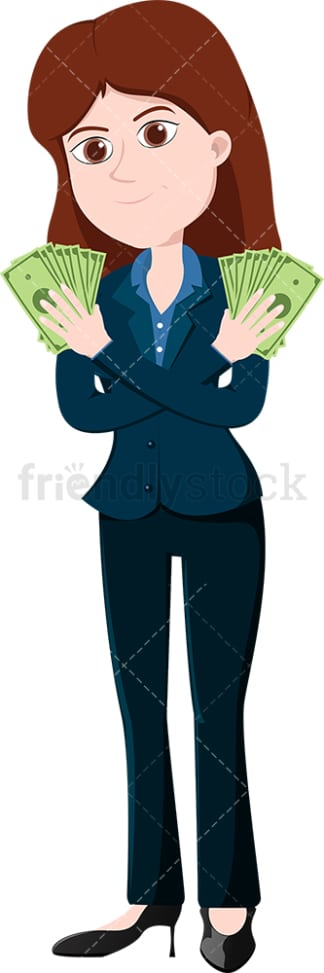 Woman holding cash with both hands. PNG - JPG and vector EPS file formats (infinitely scalable). Image isolated on transparent background.