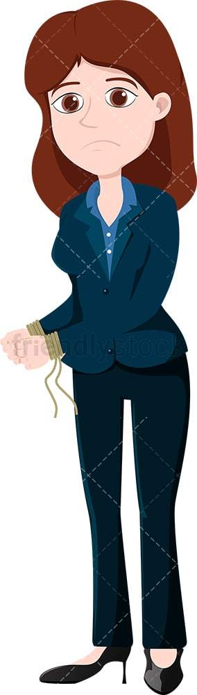 Woman in business attire with her hands tied up. PNG - JPG and vector EPS file formats (infinitely scalable). Image isolated on transparent background.