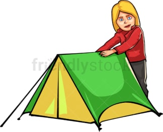 Woman preparing tent while camping outdoors. PNG - JPG and vector EPS file formats (infinitely scalable). Image isolated on transparent background.