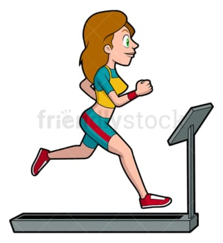 Woman running on treadmill. PNG - JPG and vector EPS file formats (infinitely scalable). Image isolated on transparent background.