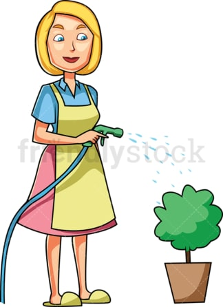 Woman watering a small plant. PNG - JPG and vector EPS file formats (infinitely scalable). Image isolated on transparent background.