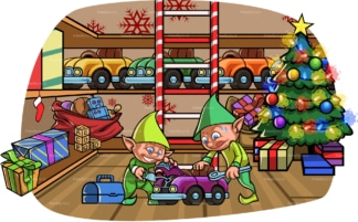 Christmas elves building toy at santa's workshop. PNG - JPG and vector EPS file formats (infinitely scalable). Image isolated on transparent background.