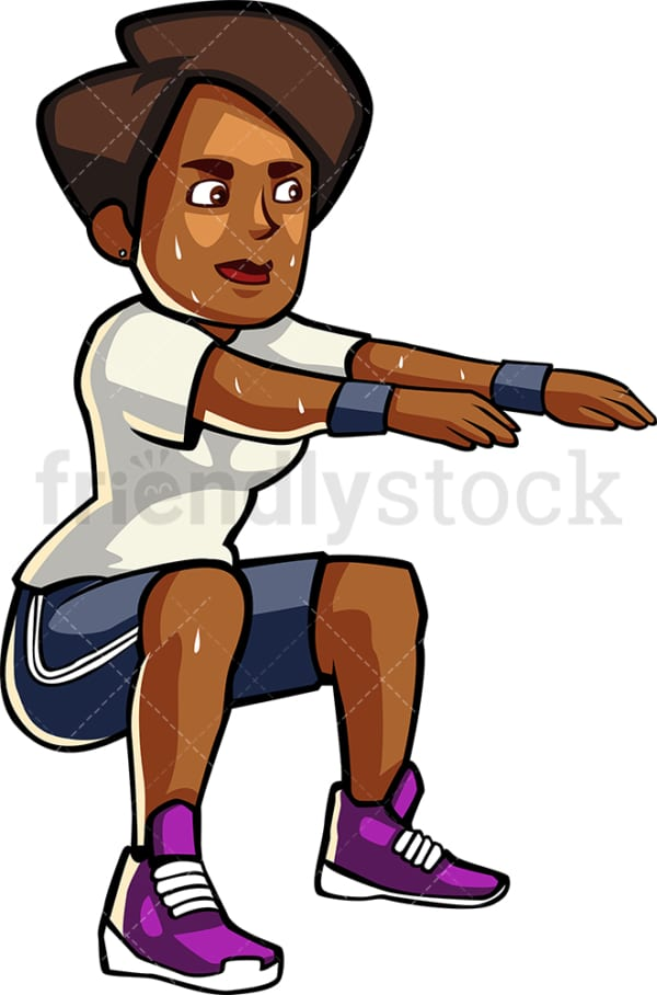 A blAck womAn doing squAts. PNG - JPG and vector EPS file formats (infinitely scalable). Image isolated on transparent background.