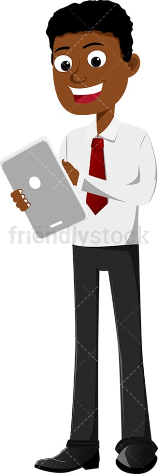 Black businessman tapping the touch screen on tablet. PNG - JPG and vector EPS file formats (infinitely scalable). Image isolated on transparent background.