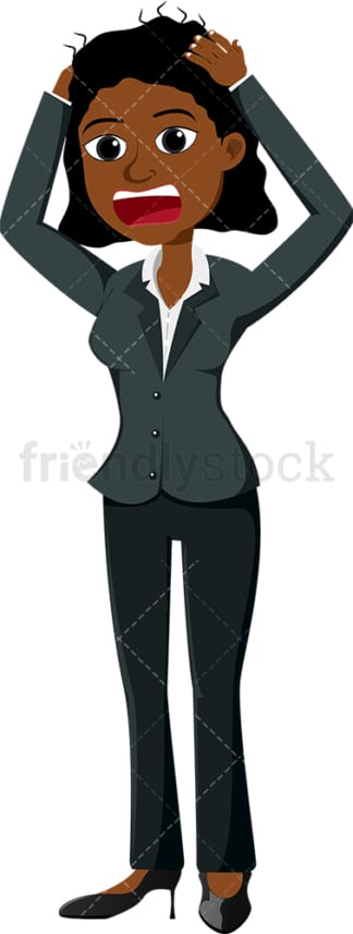 Black businesswoman maniacally pulling her hair. PNG - JPG and vector EPS file formats (infinitely scalable). Image isolated on transparent background.