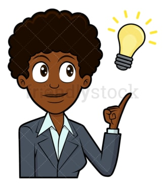 Black businesswoman with an idea. PNG - JPG and vector EPS file formats (infinitely scalable). Image isolated on transparent background.