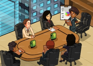 Black female ceo having business meeting at office. PNG - JPG and vector EPS file formats (infinitely scalable). Image isolated on transparent background.