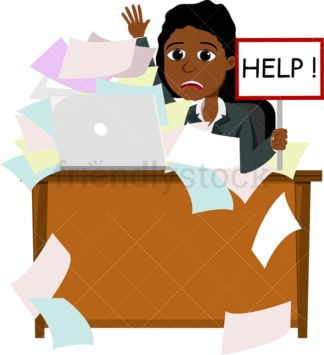 Black female professional drowning in paperwork. PNG - JPG and vector EPS file formats (infinitely scalable). Image isolated on transparent background.