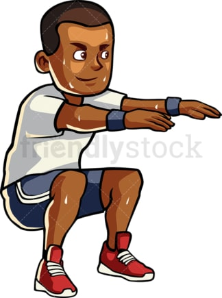 Black man doing squats. PNG - JPG and vector EPS file formats (infinitely scalable). Image isolated on transparent background.