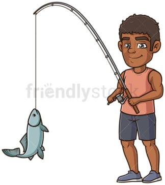 Black man fishing. PNG - JPG and vector EPS (infinitely scalable).