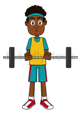 Black man lifting a barbell. PNG - JPG and vector EPS file formats (infinitely scalable). Image isolated on transparent background.