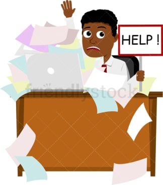 Black man needing help with paperwork. PNG - JPG and vector EPS file formats (infinitely scalable). Image isolated on transparent background.