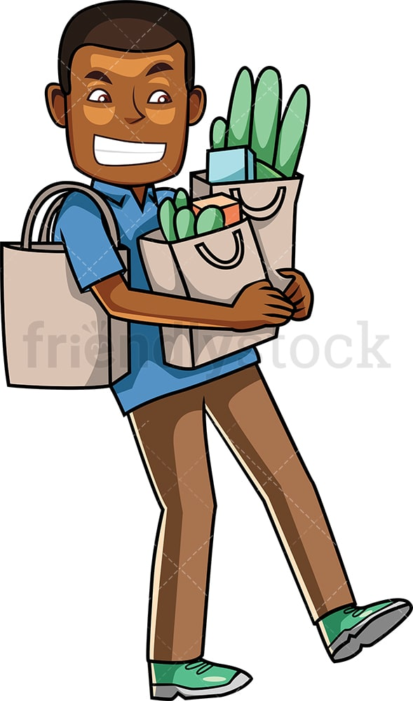 Black man struggling to carry grocery bags. PNG - JPG and vector EPS file formats (infinitely scalable). Image isolated on transparent background.