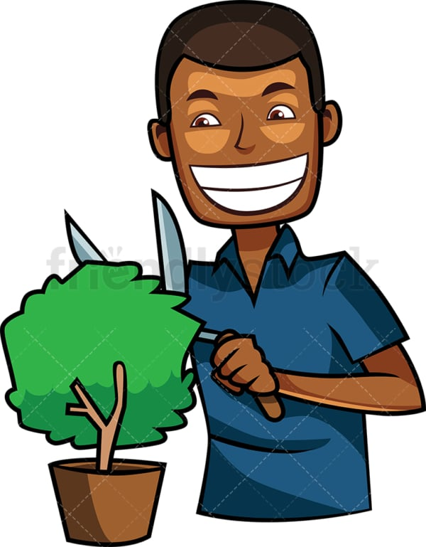 Black man trimming small plant. PNG - JPG and vector EPS file formats (infinitely scalable). Image isolated on transparent background.