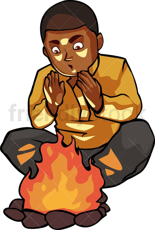 Black man warming his hands by the campfire. PNG - JPG and vector EPS file formats (infinitely scalable). Image isolated on transparent background.