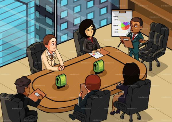 Black man with executives at business meeting. PNG - JPG and vector EPS file formats (infinitely scalable). Image isolated on transparent background.