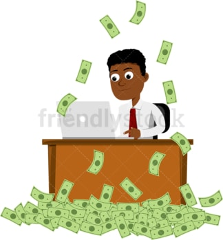 Black man working at the office while money rain down. PNG - JPG and vector EPS file formats (infinitely scalable). Image isolated on transparent background.