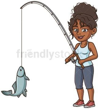 Black woman fishing. PNG - JPG and vector EPS (infinitely scalable).