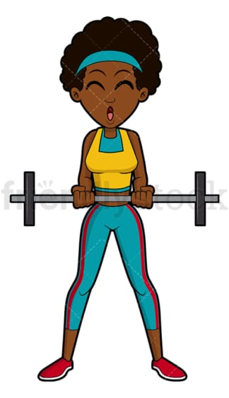 Black woman lifting light barbell. PNG - JPG and vector EPS file formats (infinitely scalable). Image isolated on transparent background.
