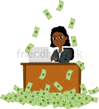Black woman making money by working on laptop. PNG - JPG and vector EPS file formats (infinitely scalable). Image isolated on transparent background.