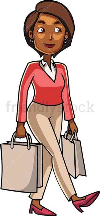 Black woman shopping groceries. PNG - JPG and vector EPS file formats (infinitely scalable). Image isolated on transparent background.