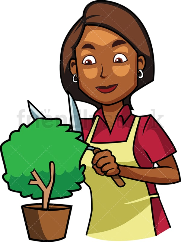 Black woman trimming small shrub. PNG - JPG and vector EPS file formats (infinitely scalable). Image isolated on transparent background.