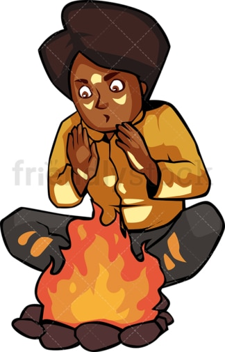 Black woman warming her hands by the campfire. PNG - JPG and vector EPS file formats (infinitely scalable). Image isolated on transparent background.