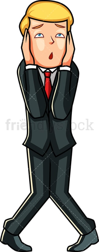 Businessman clutching his head. PNG - JPG and vector EPS file formats (infinitely scalable). Image isolated on transparent background.