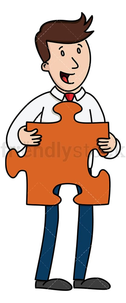 Businessman holding large puzzle piece. PNG - JPG and vector EPS (infinitely scalable).