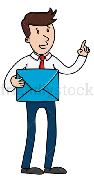 Speaking businessman holding envelope. PNG - JPG and vector EPS (infinitely scalable).
