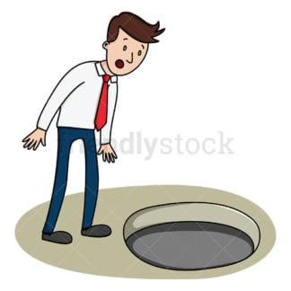 Businessman peering into an empty pit. PNG - JPG and vector EPS (infinitely scalable).