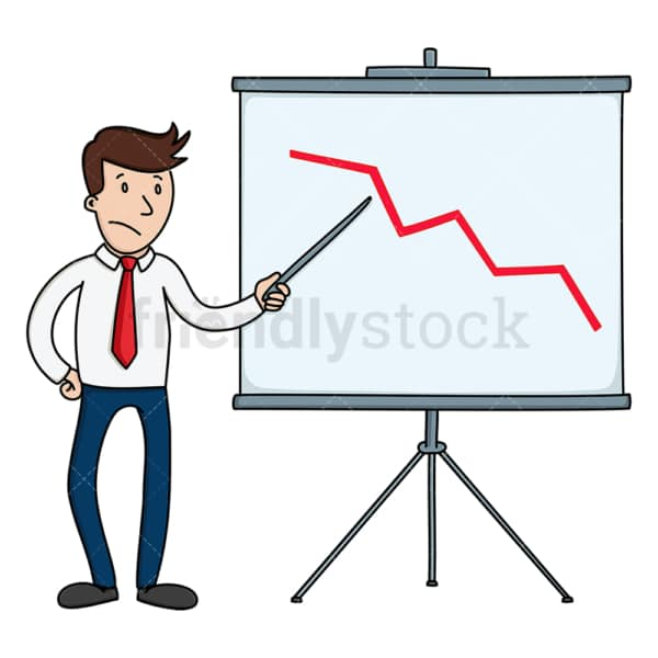 Businessman pointing to declining chart. PNG - JPG and vector EPS file formats (infinitely scalable). Image isolated on transparent background.