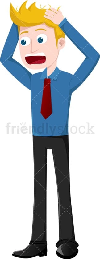 Businessman pulling his hair in despair. PNG - JPG and vector EPS file formats (infinitely scalable). Image isolated on transparent background.